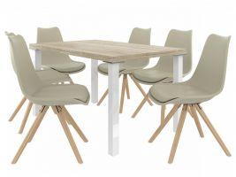 Jídelní set Amareto 1+6 židlí - sonoma/khaki