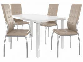 Jídelní set Loreno 1+4 židlí - bílá/béž