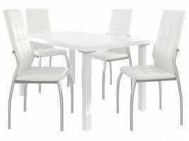 Jídelní set Loreno 1+4 židlí - bílá/bílá