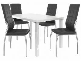 Jídelní set Loreno 1+4 židlí - bílá/černá