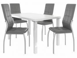 Jídelní set Loreno 1+4 židlí - bílá/popel