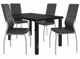 Jídelní set Loreno 1+4 židlí - černá/černá