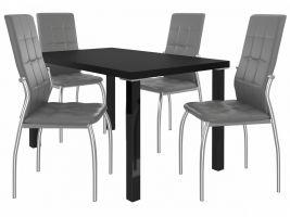 Jídelní set Loreno 1+4 židlí - černá/popel