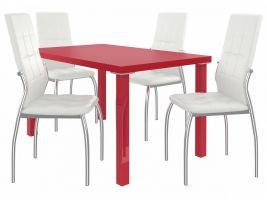 Jídelní set Loreno 1+4 židlí - červená/bílá