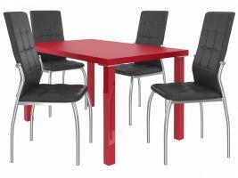 Jídelní set Loreno 1+4 židlí - červená/černá