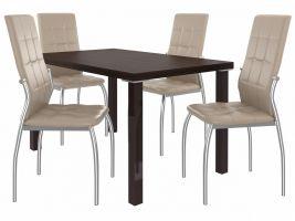 Jídelní set Loreno 1+4 židlí - kaštan/béž