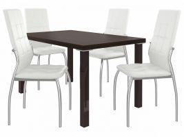 Jídelní set Loreno 1+4 židlí - kaštan/bílá