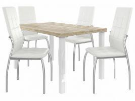 Jídelní set Loreno 1+4 židlí - sonoma/bílá