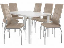 Jídelní set Loreno 1+6 židlí - bílá/béž