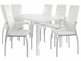 Jídelní set Loreno 1+6 židlí - bílá/bílá