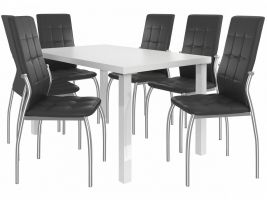 Jídelní set Loreno 1+6 židlí - bílá/černá