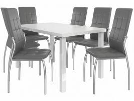 Jídelní set Loreno 1+6 židlí - bílá/popel