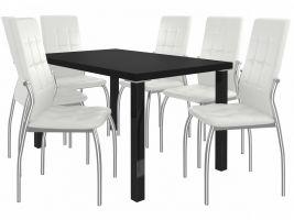 Jídelní set Loreno 1+6 židlí - černá/bílá