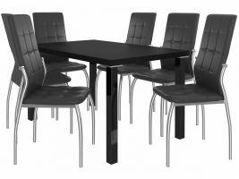 Jídelní set Loreno 1+6 židlí - černá/černá