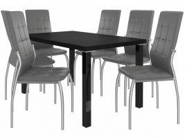 Jídelní set Loreno 1+6 židlí - černá/popel