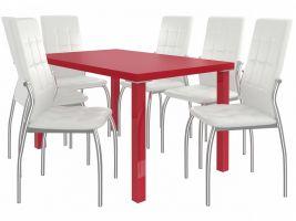 Jídelní set Loreno 1+6 židlí - červená/bílá