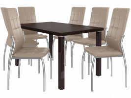 Jídelní set Loreno 1+6 židlí - kaštan/béž