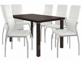 Jídelní set Loreno 1+6 židlí - kaštan/bílá