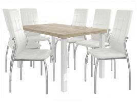 Jídelní set Loreno 1+6 židlí - sonoma/bílá