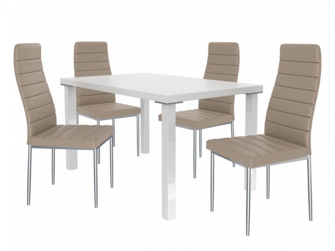 Jídelní set Moderno 1+4 židlí - bílá/béž BELINI