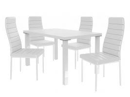 Jídelní set Moderno 1+4 židlí - bílá/bílá
