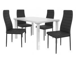Jídelní set Moderno 1+4 židlí - bílá/černá