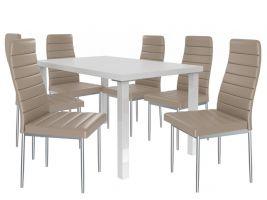Jídelní set Moderno 1+6 židlí - bílá/béž
