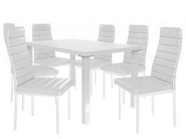 Jídelní set Moderno 1+6 židlí - bílá/bílá