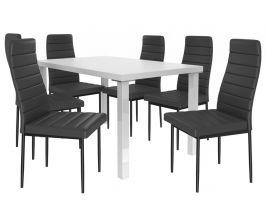 Jídelní set Moderno 1+6 židlí - bílá/černá
