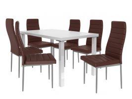 Jídelní set Moderno 1+6 židlí - bílá/čoko