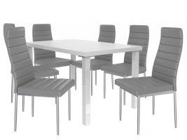 Jídelní set Moderno 1+6 židlí - bílá/popel