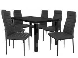 Jídelní set Moderno 1+6 židlí - černá/černá