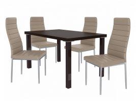 Jídelní set Moderno 1+6 židlí - kaštan/béž