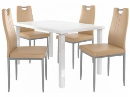 Jídelní set Roberto 1+4 židlí - bílá/cappuccino