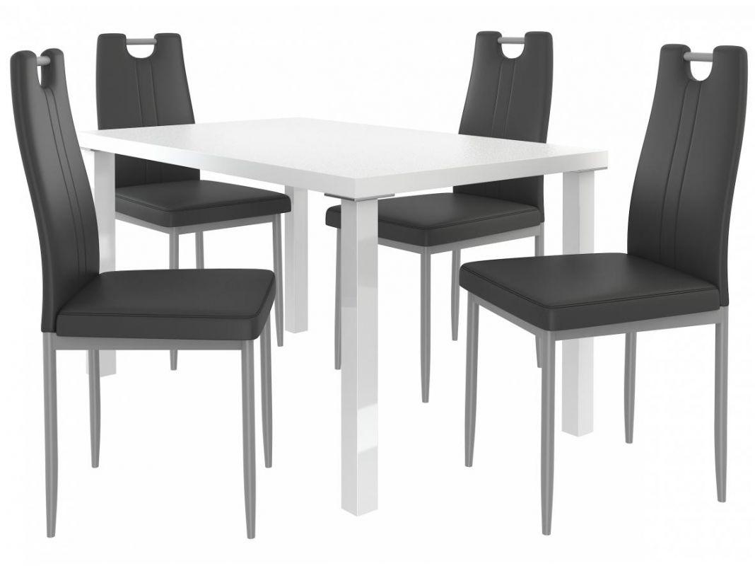 Jídelní set Roberto 1+4 židlí - bílá/černá BELINI