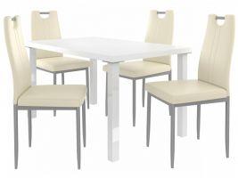 Jídelní set Roberto 1+4 židlí - bílá/krém