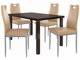 Jídelní set Roberto 1+4 židlí - kaštan/cappuccino