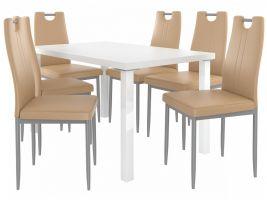 Jídelní set Roberto 1+6 židlí - bílá/cappuccino