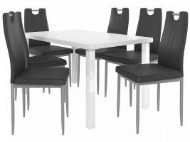 Jídelní set Roberto 1+6 židlí - bílá/černá