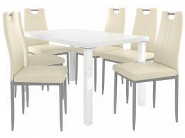 Jídelní set Roberto 1+6 židlí - bílá/krém