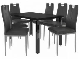 Jídelní set Roberto 1+6 židlí - černá/černá