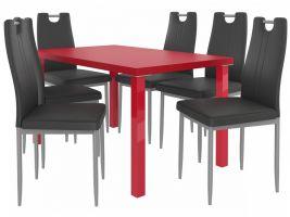 Jídelní set Roberto 1+6 židlí - červená/černá