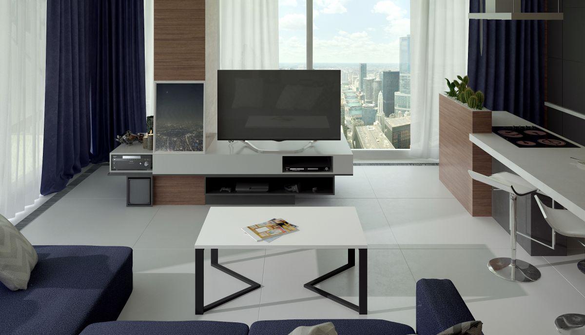 konferenční stolek GAVINO - bílý mat. EL-TAP