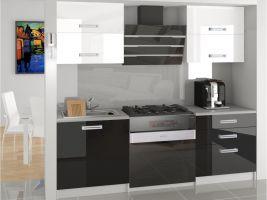 Kuchyňská linka Eleganta 120cm - Bílá/černá - LESK