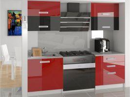 Kuchyňská linka Eleganta 120cm - Červená/černá/červená - LESK