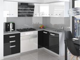 Kuchyňská linka Jowisz 150/150cm - Bílá/černá - LESK