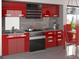 Kuchyňská linka Kompakto 160cm - Červená - LESK