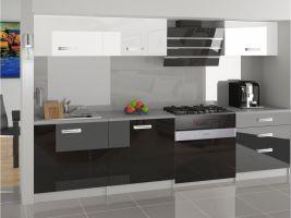 Kuchyňská linka Laurentino 180cm - Bílá/černá - LESK