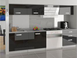 Kuchyňská linka Laurentino 180cm - Černá - LESK