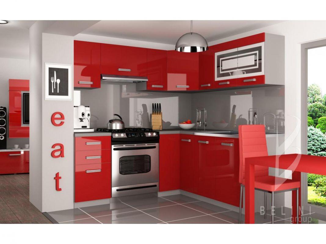 Kuchyňská linka Lidia 190/170cm - Červená - LESK BELINI
